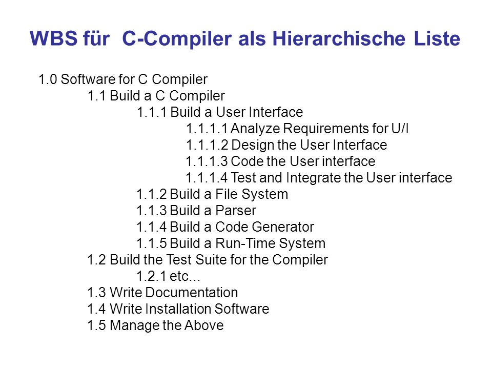 WBS für C-Compiler als Hierarchische Liste 1.0 Software for C Compiler 1.1 Build a C Compiler 1.1.1 Build a User Interface 1.1.1.1 Analyze Requirement