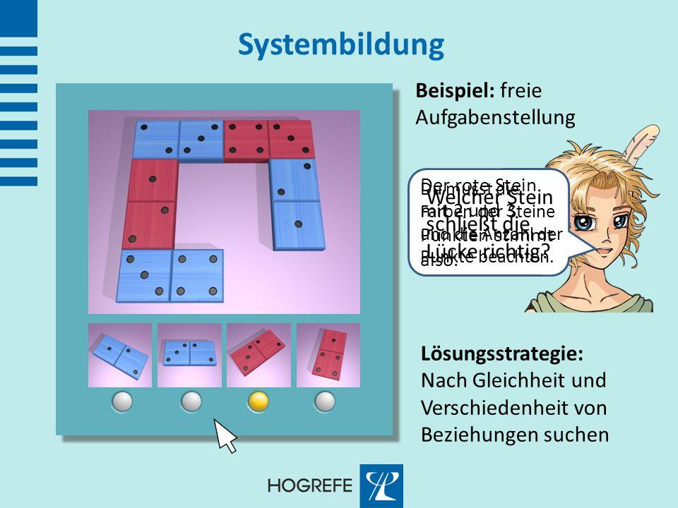 Systembildung Beispiel: freie Aufgabenstellung Welcher Stein schließt die Lücke richtig? Lösungsstrategie: Nach Gleichheit und Verschiedenheit von Bez