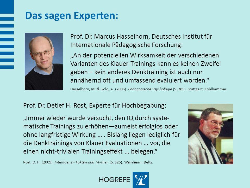 Das sagen Experten: Prof. Dr. Marcus Hasselhorn, Deutsches Institut für Internationale Pädagogische Forschung: An der potenziellen Wirksamkeit der ver