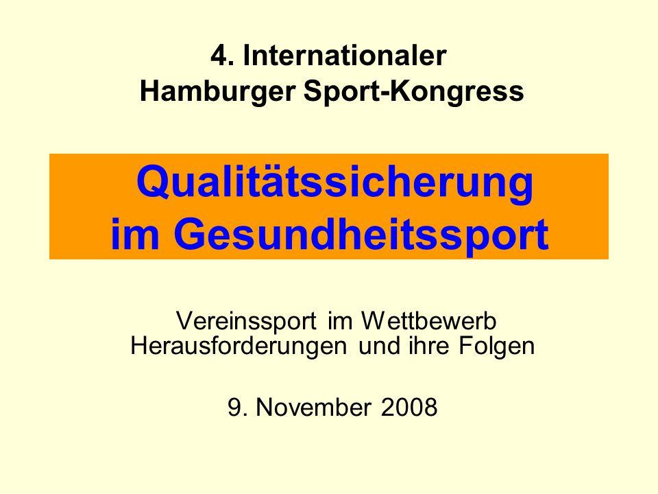 Qualitätssicherung im Gesundheitssport Vereinssport im Wettbewerb Herausforderungen und ihre Folgen 9. November 2008 4. Internationaler Hamburger Spor
