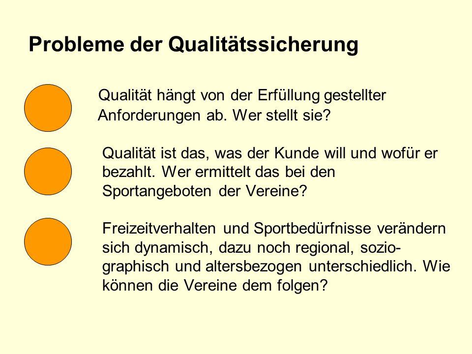 Probleme der Qualitätssicherung Qualität hängt von der Erfüllung gestellter Anforderungen ab. Wer stellt sie? Qualität ist das, was der Kunde will und