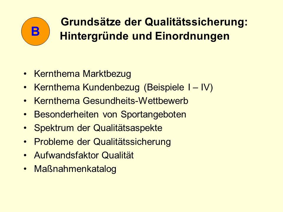 B Grundsätze der Qualitätssicherung: Hintergründe und Einordnungen Kernthema Marktbezug Kernthema Kundenbezug (Beispiele I – IV) Kernthema Gesundheits