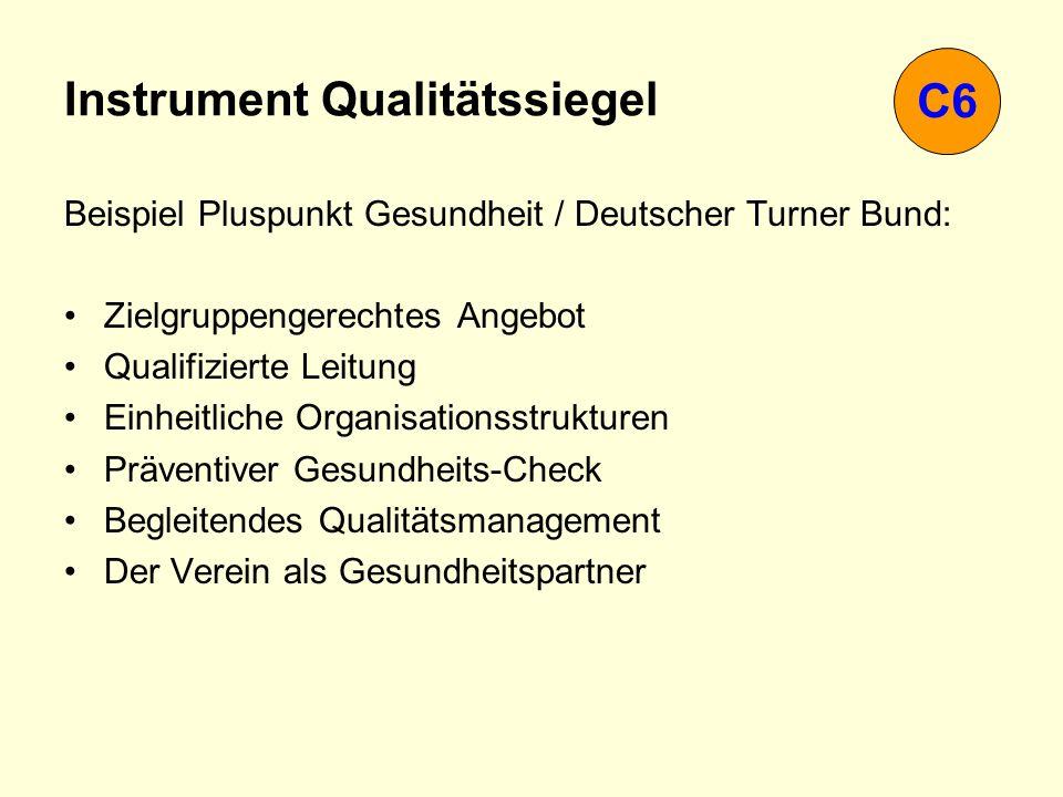 Instrument Qualitätssiegel Beispiel Pluspunkt Gesundheit / Deutscher Turner Bund: Zielgruppengerechtes Angebot Qualifizierte Leitung Einheitliche Orga