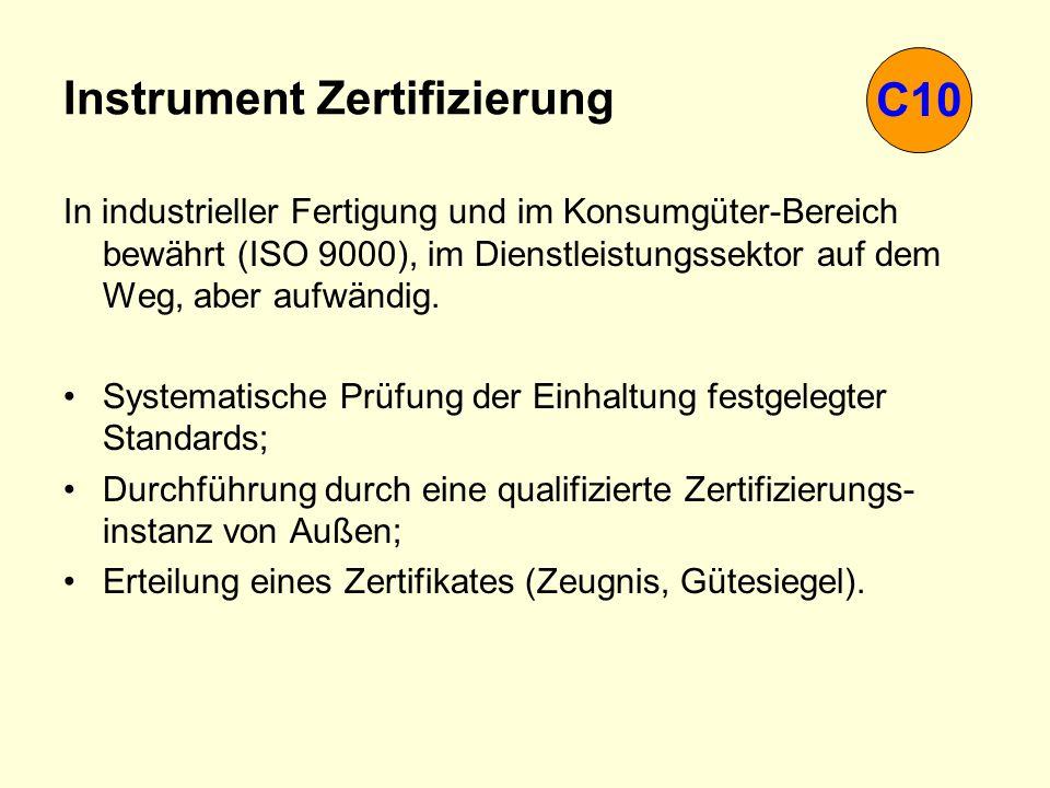 Instrument Zertifizierung In industrieller Fertigung und im Konsumgüter-Bereich bewährt (ISO 9000), im Dienstleistungssektor auf dem Weg, aber aufwänd