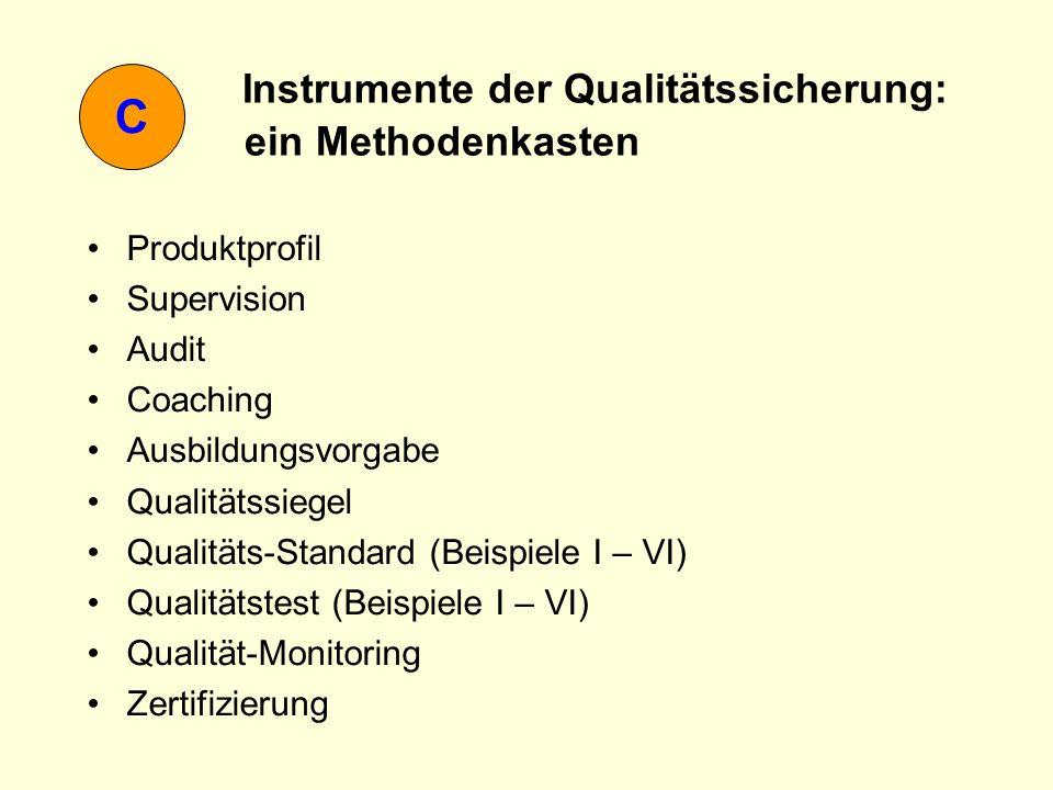 C Instrumente der Qualitätssicherung: ein Methodenkasten Produktprofil Supervision Audit Coaching Ausbildungsvorgabe Qualitätssiegel Qualitäts-Standar