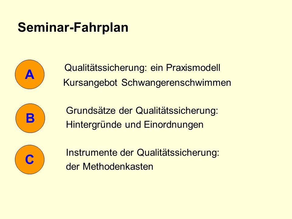 Seminar-Fahrplan Qualitätssicherung: ein Praxismodell Kursangebot Schwangerenschwimmen Grundsätze der Qualitätssicherung: Hintergründe und Einordnunge