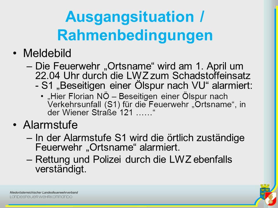 Ausgangsituation / Rahmenbedingungen Meldebild –Die Feuerwehr Ortsname wird am 1. April um 22.04 Uhr durch die LWZ zum Schadstoffeinsatz - S1 Beseitig