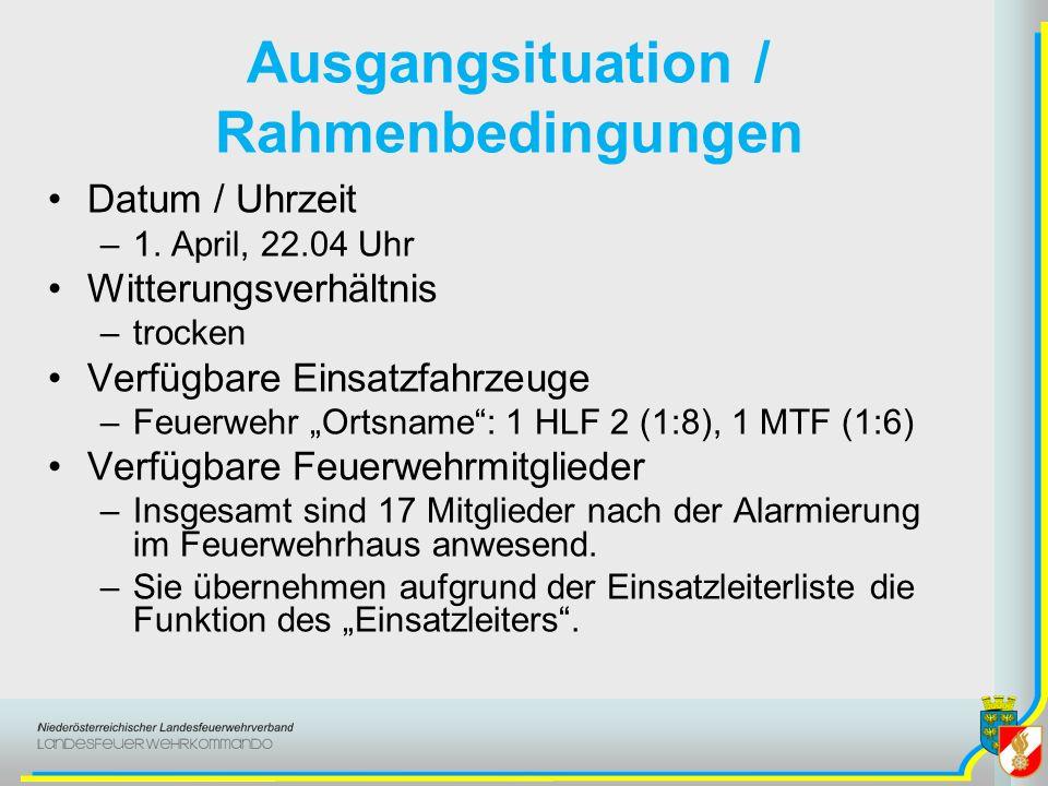 Ausgangsituation / Rahmenbedingungen Datum / Uhrzeit –1. April, 22.04 Uhr Witterungsverhältnis –trocken Verfügbare Einsatzfahrzeuge –Feuerwehr Ortsnam