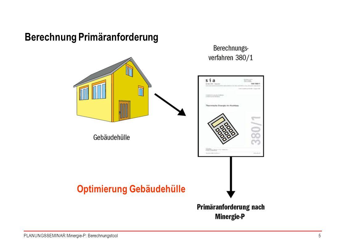 PLANUNGSSEMINAR Minergie-P: Berechnungstool5 Optimierung Gebäudehülle Berechnung Primäranforderung