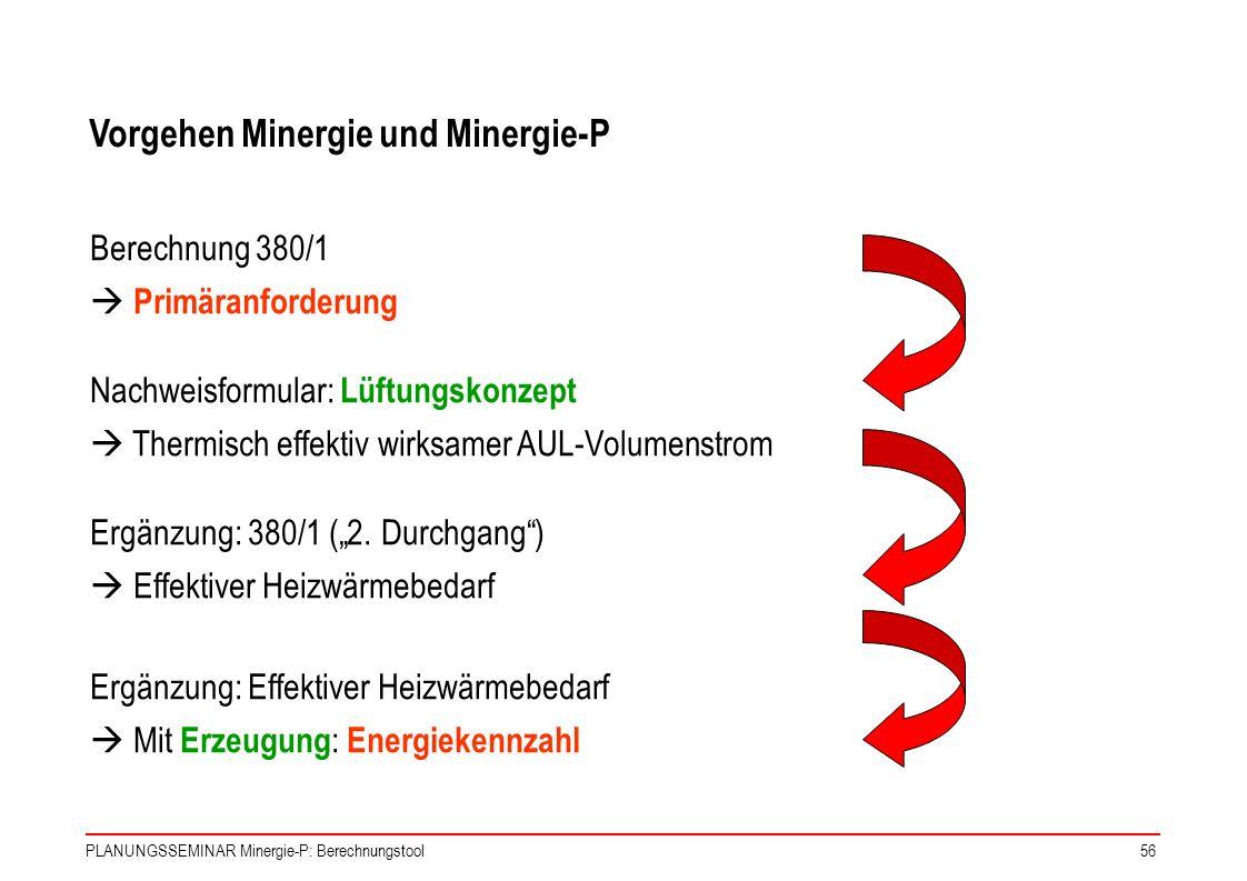 PLANUNGSSEMINAR Minergie-P: Berechnungstool56 Berechnung 380/1 Primäranforderung Nachweisformular: Lüftungskonzept Thermisch effektiv wirksamer AUL-Vo