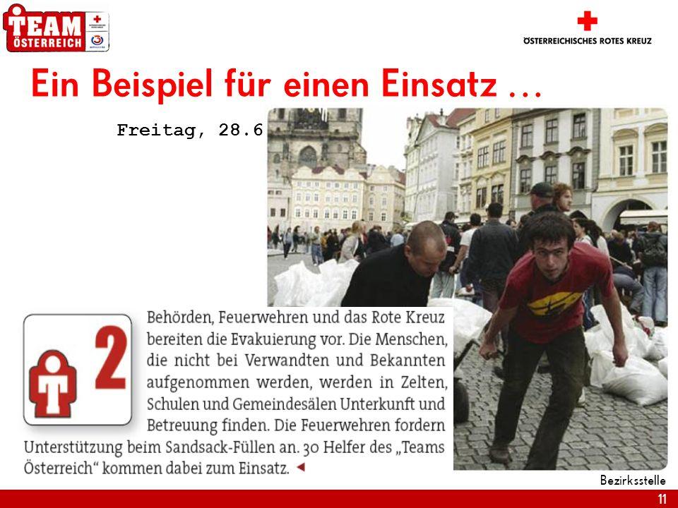 11 Bezirksstelle Ein Beispiel für einen Einsatz … Freitag, 28.6.2008 … 17.10 Uhr MESZ