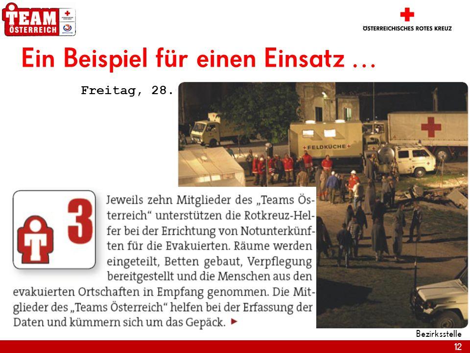 12 Bezirksstelle Ein Beispiel für einen Einsatz … Freitag, 28.6.2008 … 20.00 Uhr MESZ