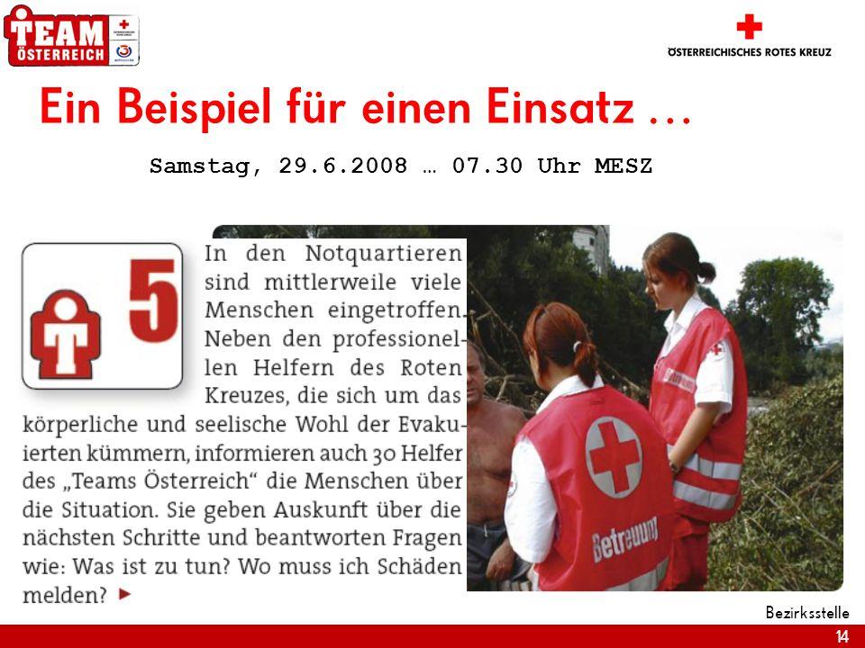 14 Bezirksstelle Ein Beispiel für einen Einsatz … Samstag, 29.6.2008 … 07.30 Uhr MESZ