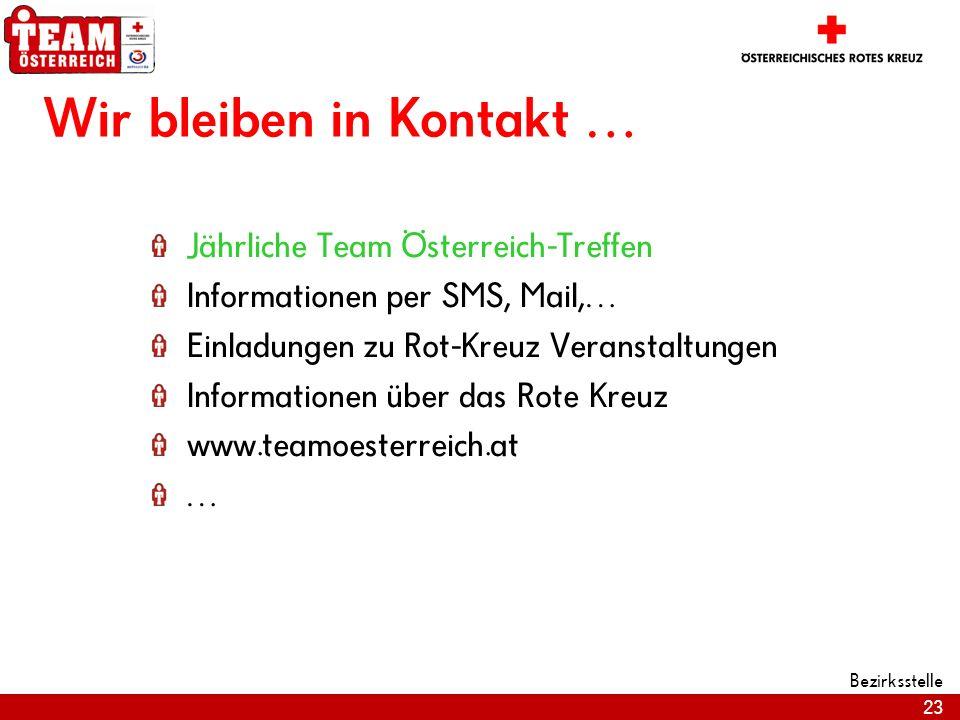 23 Bezirksstelle Wir bleiben in Kontakt … Jährliche Team Österreich-Treffen Informationen per SMS, Mail,… Einladungen zu Rot-Kreuz Veranstaltungen Inf