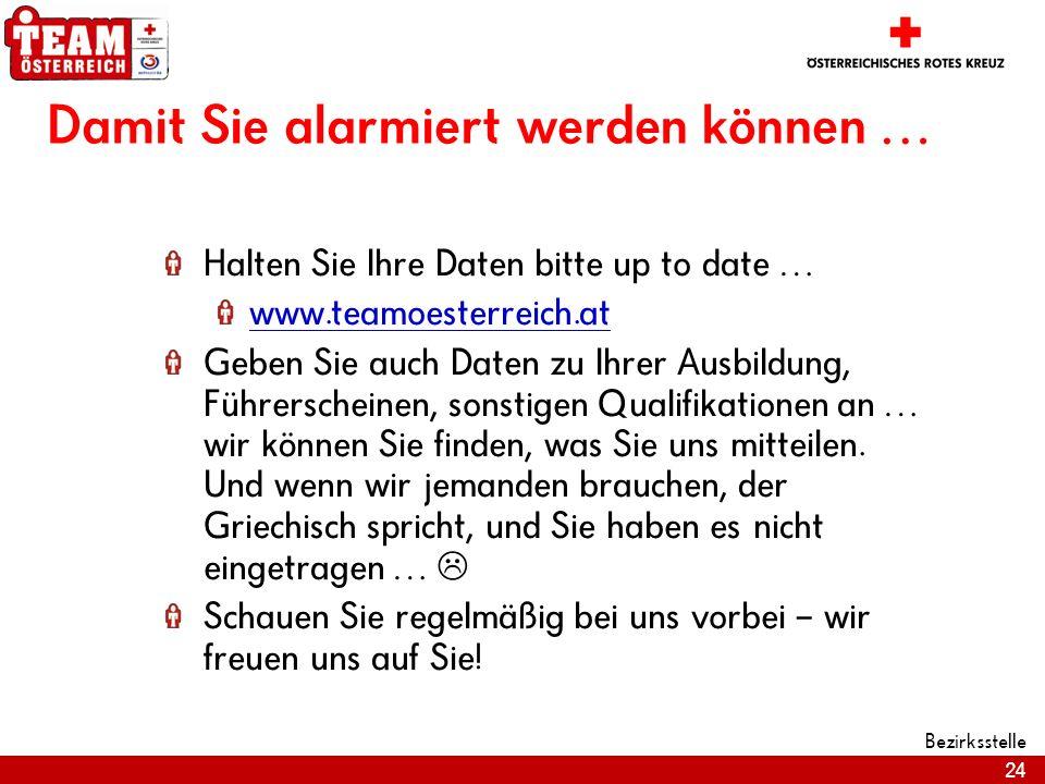 24 Bezirksstelle Damit Sie alarmiert werden können … Halten Sie Ihre Daten bitte up to date … www.teamoesterreich.at Geben Sie auch Daten zu Ihrer Aus