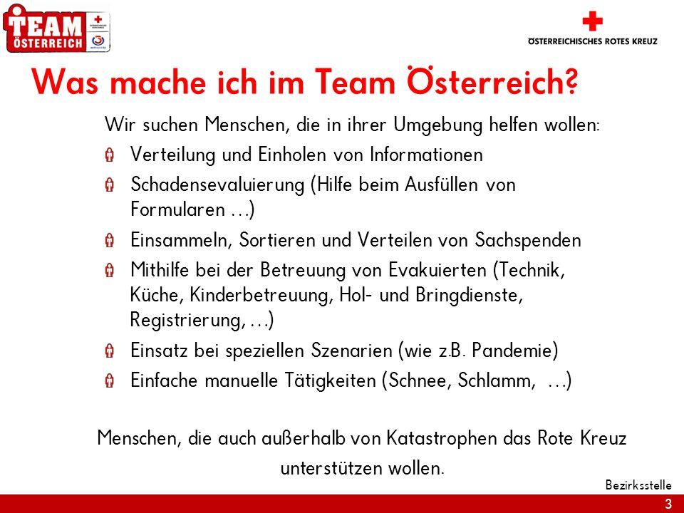 3 Bezirksstelle Was mache ich im Team Österreich? Wir suchen Menschen, die in ihrer Umgebung helfen wollen: Verteilung und Einholen von Informationen