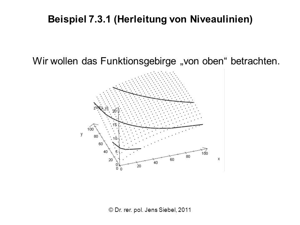 © Dr. rer. pol. Jens Siebel, 2011 Beispiel 7.3.1 (Herleitung von Niveaulinien) Wir wollen das Funktionsgebirge von oben betrachten.