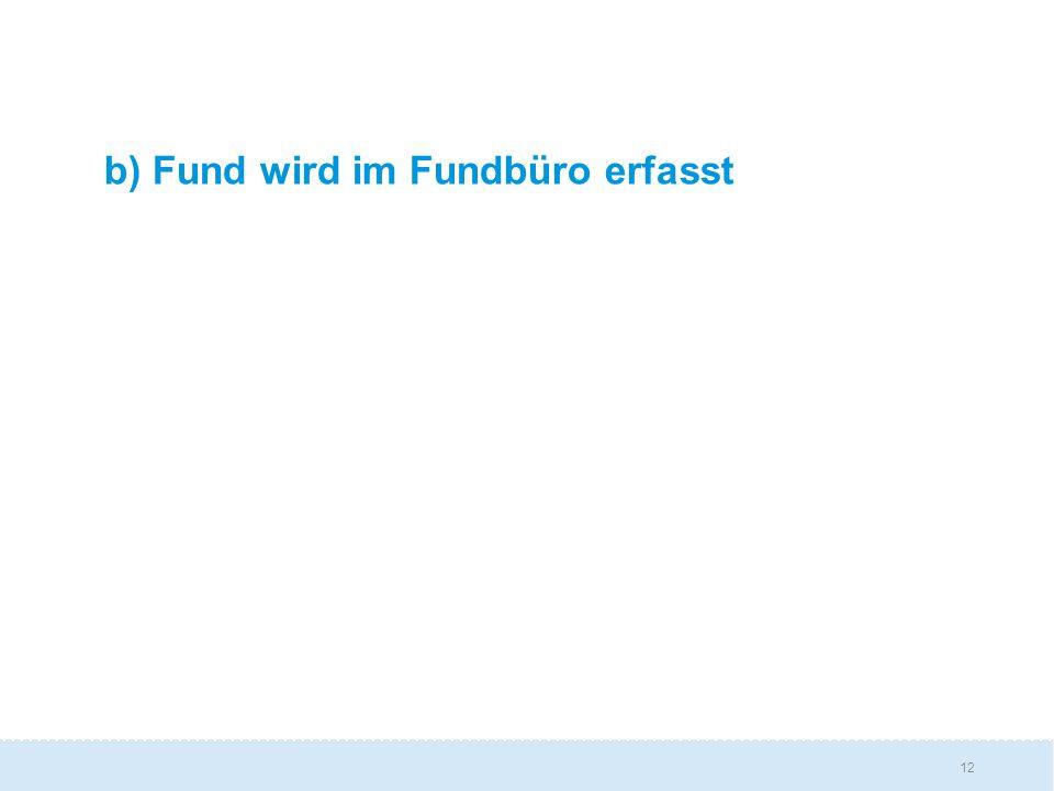 12 b) Fund wird im Fundbüro erfasst