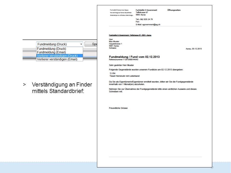 17 >Verständigung an Finder mittels Standardbrief: