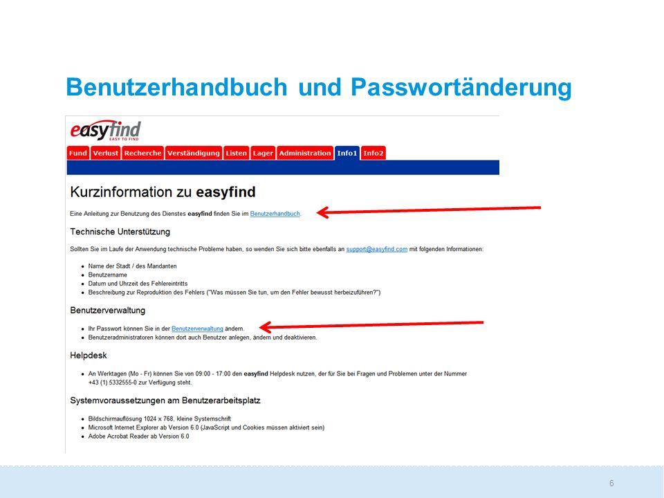6 Benutzerhandbuch und Passwortänderung