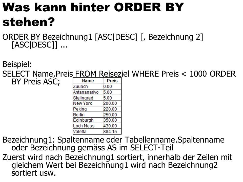 Was kann hinter ORDER BY stehen.ORDER BY Bezeichnung1 [ASC|DESC] [, Bezeichnung 2] [ASC|DESC]]...