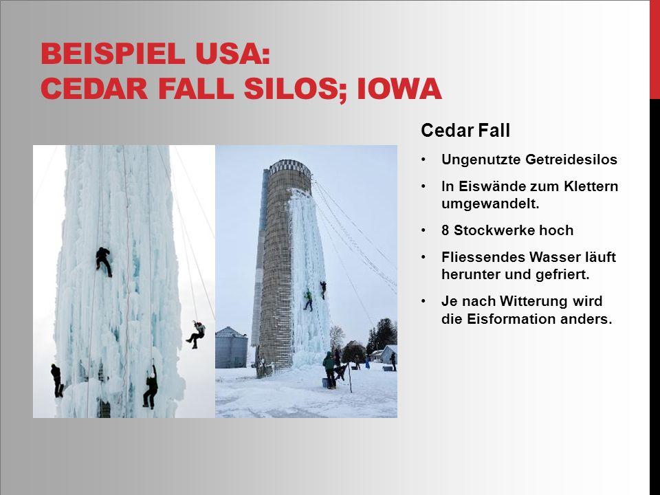 Cedar Fall Ungenutzte Getreidesilos In Eiswände zum Klettern umgewandelt.