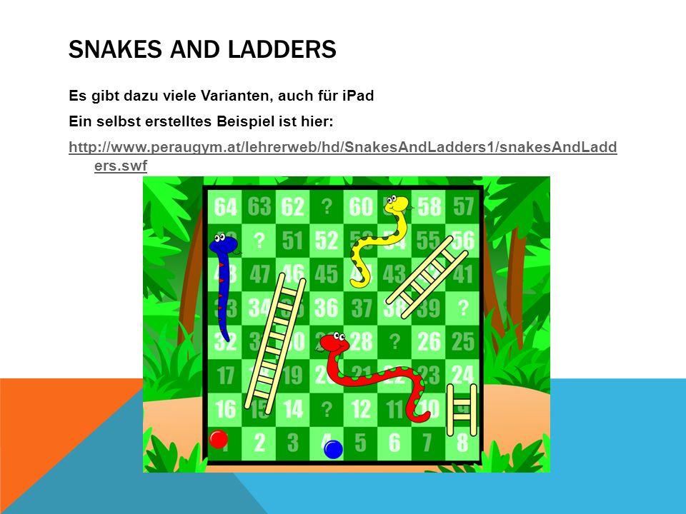 SNAKES AND LADDERS Es gibt dazu viele Varianten, auch für iPad Ein selbst erstelltes Beispiel ist hier: http://www.peraugym.at/lehrerweb/hd/SnakesAndLadders1/snakesAndLadd ers.swf