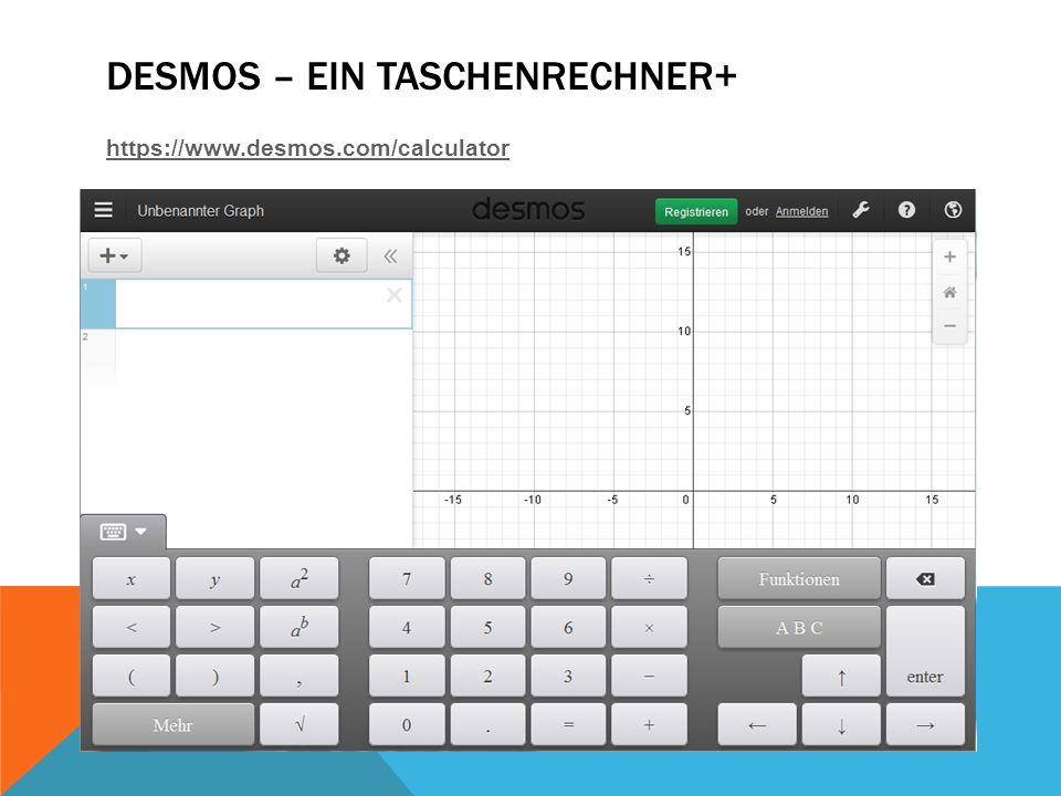 DESMOS – EIN TASCHENRECHNER+ https://www.desmos.com/calculator