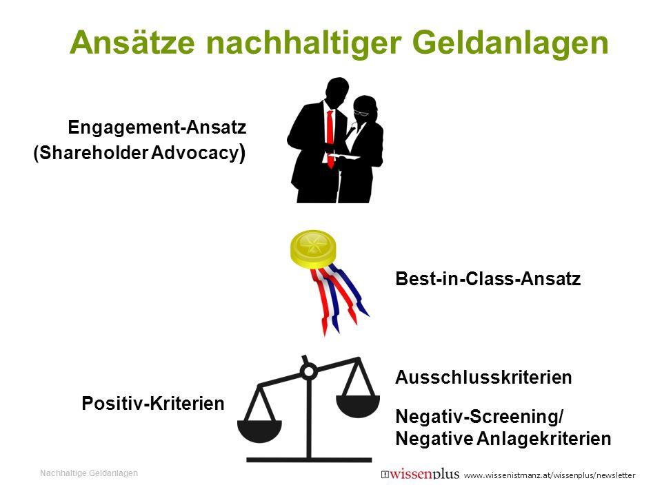 Engagement-Ansatz (Shareholder Advocacy ) Best-in-Class-Ansatz Positiv-Kriterien Ausschlusskriterien Negativ-Screening/ Negative Anlagekriterien Ansät