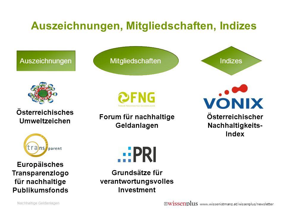 Auszeichnungen, Mitgliedschaften, Indizes Nachhaltige Geldanlagen Österreichischer Nachhaltigkeits- Index Österreichisches Umweltzeichen Europäisches