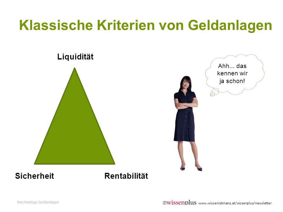 Klassische Kriterien von Geldanlagen Liquidität SicherheitRentabilität Ahh... das kennen wir ja schon! Nachhaltige Geldanlagen www.wissenistmanz.at/wi