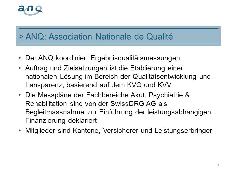 > ANQ: Association Nationale de Qualité Der ANQ koordiniert Ergebnisqualitätsmessungen Auftrag und Zielsetzungen ist die Etablierung einer nationalen