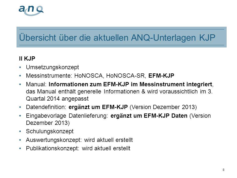 8 Übersicht über die aktuellen ANQ-Unterlagen KJP II KJP Umsetzungskonzept Messinstrumente: HoNOSCA, HoNOSCA-SR, EFM-KJP Manual: Informationen zum EFM