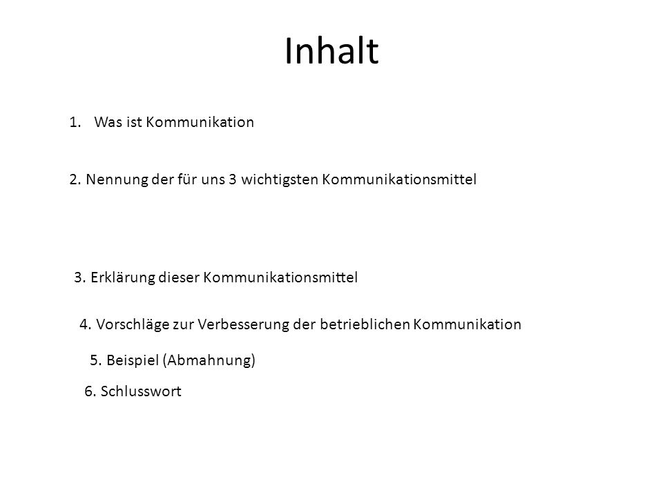 Inhalt 1.Was ist Kommunikation 2. Nennung der für uns 3 wichtigsten Kommunikationsmittel 3. Erklärung dieser Kommunikationsmittel 4. Vorschläge zur Ve