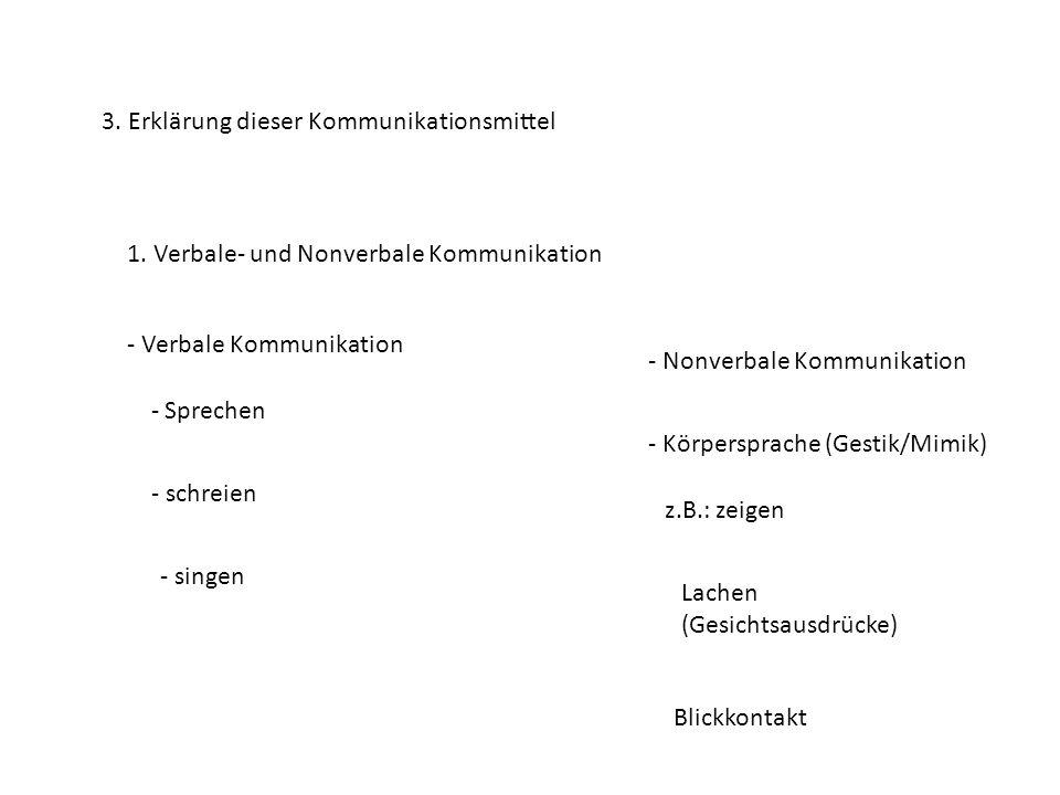 3. Erklärung dieser Kommunikationsmittel 1. Verbale- und Nonverbale Kommunikation - Verbale Kommunikation - Sprechen - schreien - singen - Nonverbale