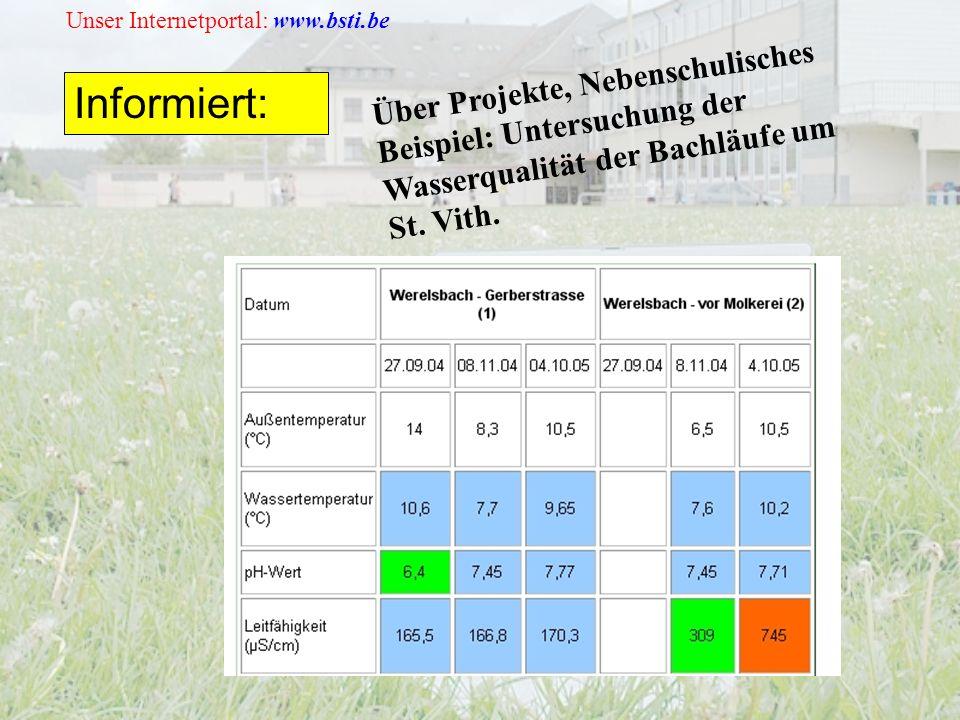 Unser Internetportal: www.bsti.be Informiert: Über Projekte, Nebenschulisches Beispiel: Untersuchung der Wasserqualität der Bachläufe um St.