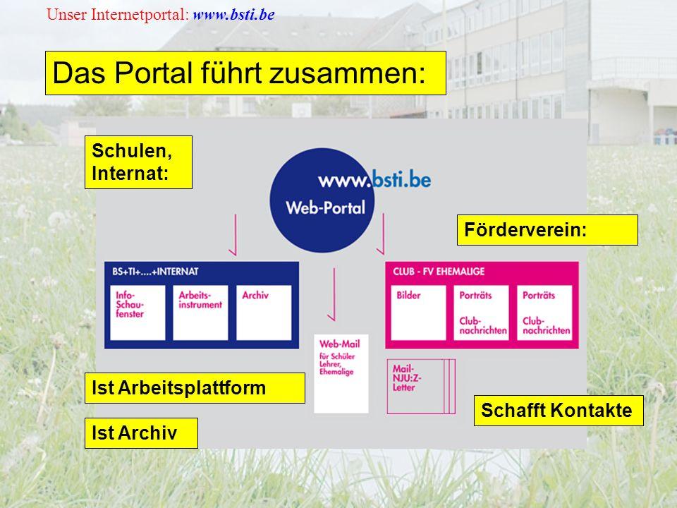 Unser Internetportal: www.bsti.be Das Portal führt zusammen: Schulen, Internat: Schafft Kontakte Ist Arbeitsplattform Förderverein: Ist Archiv