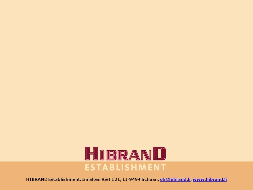 HIBRAND Establishment, Im alten Riet 121, LI-9494 Schaan, www.hibrand.li HIBRAND Establishment, Im alten Riet 121, LI-9494 Schaan, oh@hibrand.li, www.