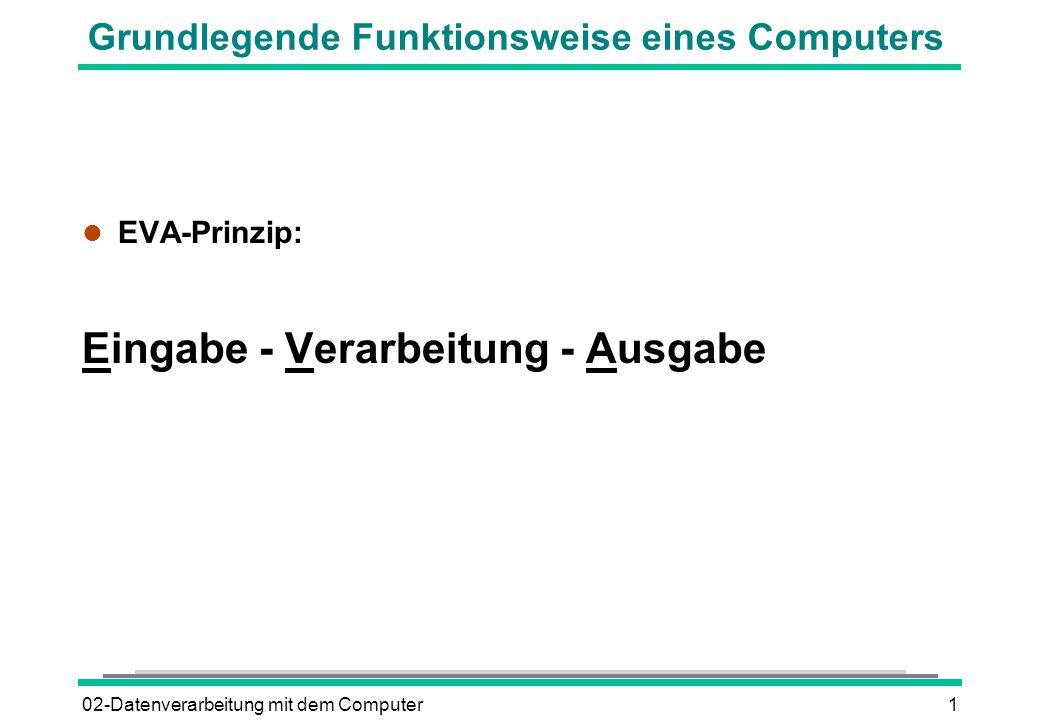 02-Datenverarbeitung mit dem Computer1 Grundlegende Funktionsweise eines Computers l EVA-Prinzip: Eingabe - Verarbeitung - Ausgabe