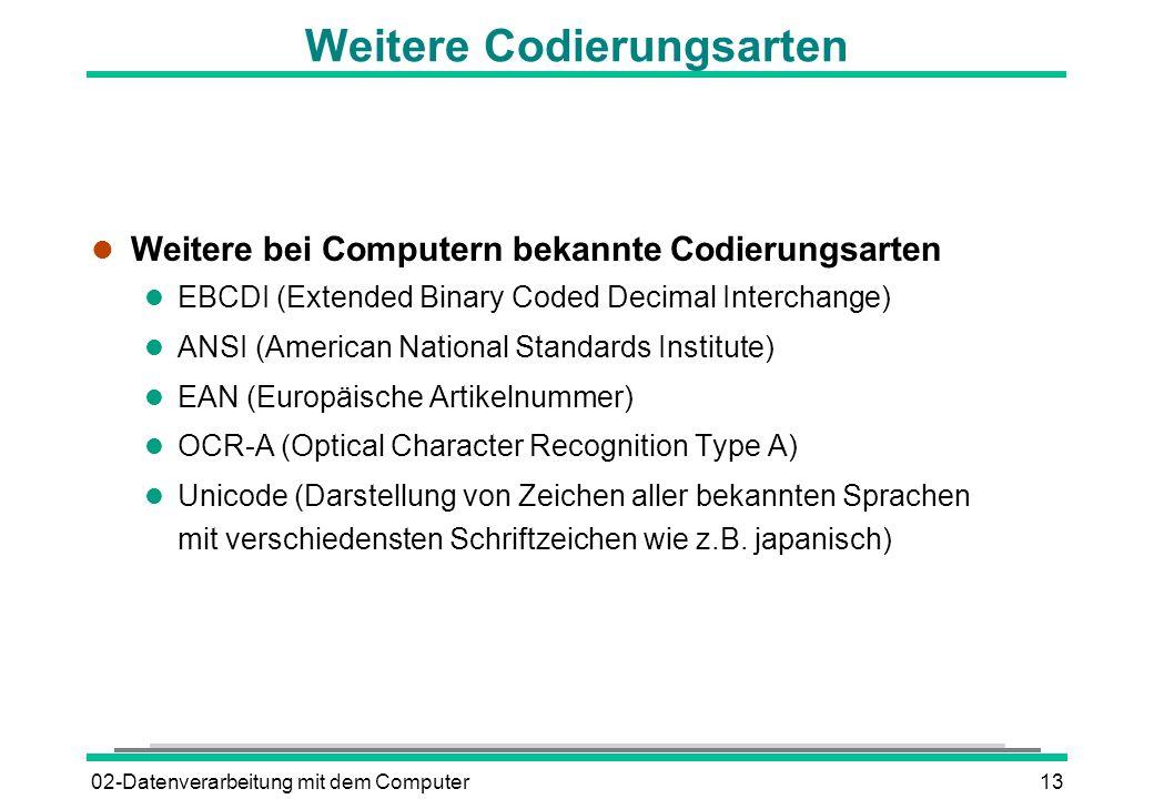 02-Datenverarbeitung mit dem Computer13 Weitere Codierungsarten l Weitere bei Computern bekannte Codierungsarten l EBCDI (Extended Binary Coded Decima