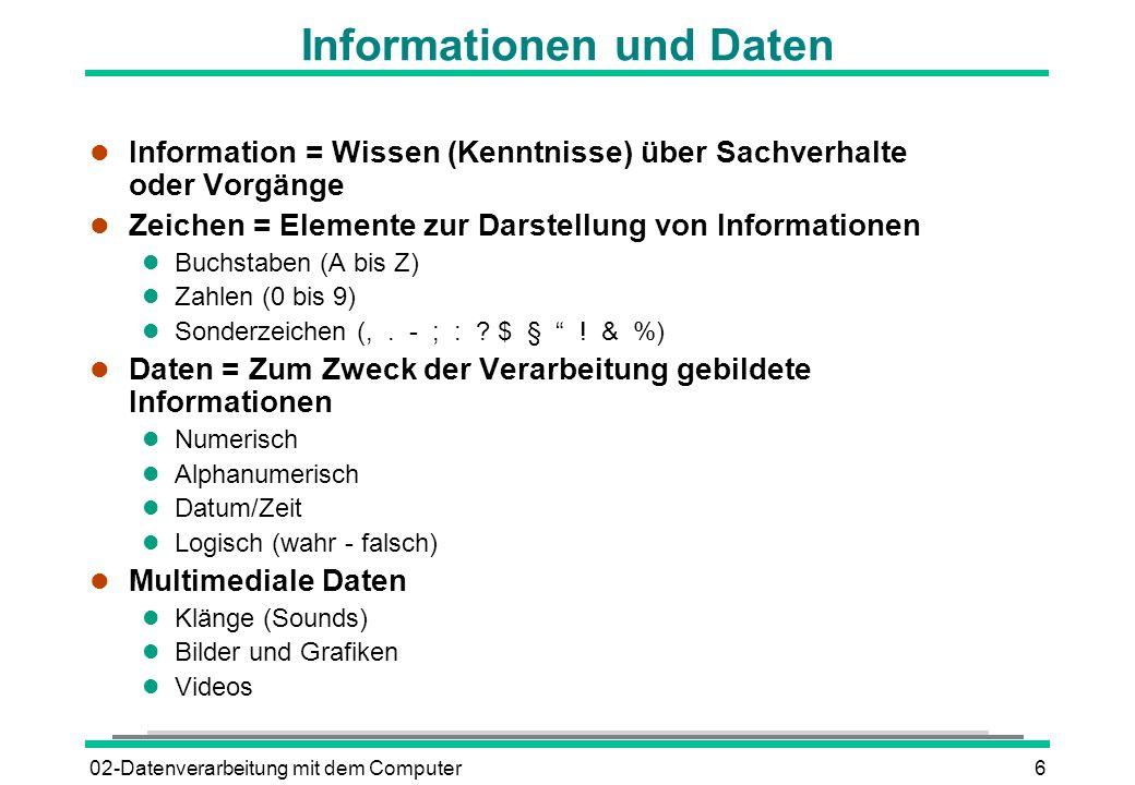 02-Datenverarbeitung mit dem Computer6 Informationen und Daten l Information = Wissen (Kenntnisse) über Sachverhalte oder Vorgänge l Zeichen = Element