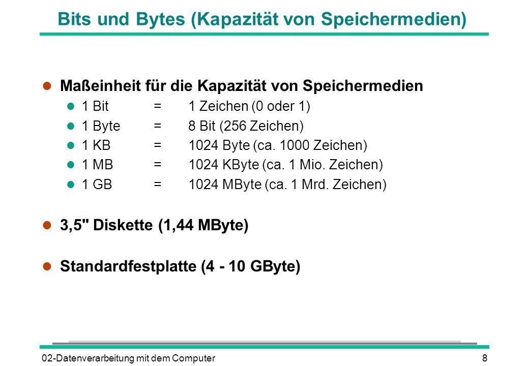 02-Datenverarbeitung mit dem Computer8 Bits und Bytes (Kapazität von Speichermedien) l Maßeinheit für die Kapazität von Speichermedien l 1 Bit=1 Zeich