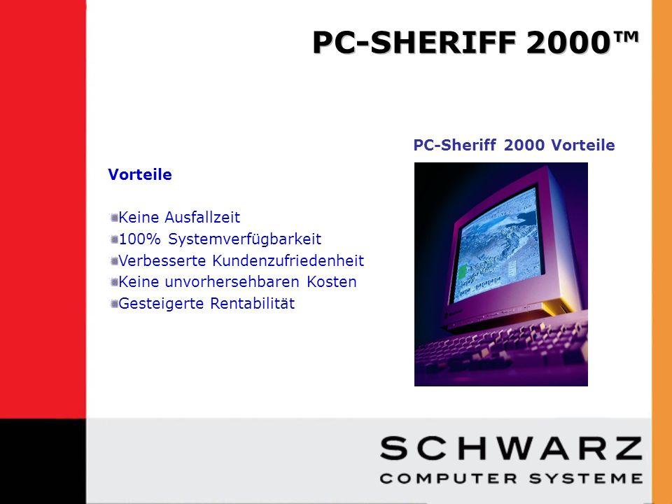 Pre-install PC-Sheriff 2000 Data Recovery Durchschnittliche Kosten/ Jahr Post-install PC-Sheriff 2000 Data Recovery Kosten Pro Jahr nach 1 Jahr 4,000 Laptops1 Stunde/Monat4,000 Laptops<10sek./Monat 100 Training PCs4 Stunde/Monat100 Training PCs0 Stunden/Monat Support Std./Jahr 52,800 Std./Jahr (4,400 Std./Monat X 12 Monate) Support Std./Jahr < 9,600 Std./Jahr Support /Std.X 30/Std.Support /Std.X 30/Std.