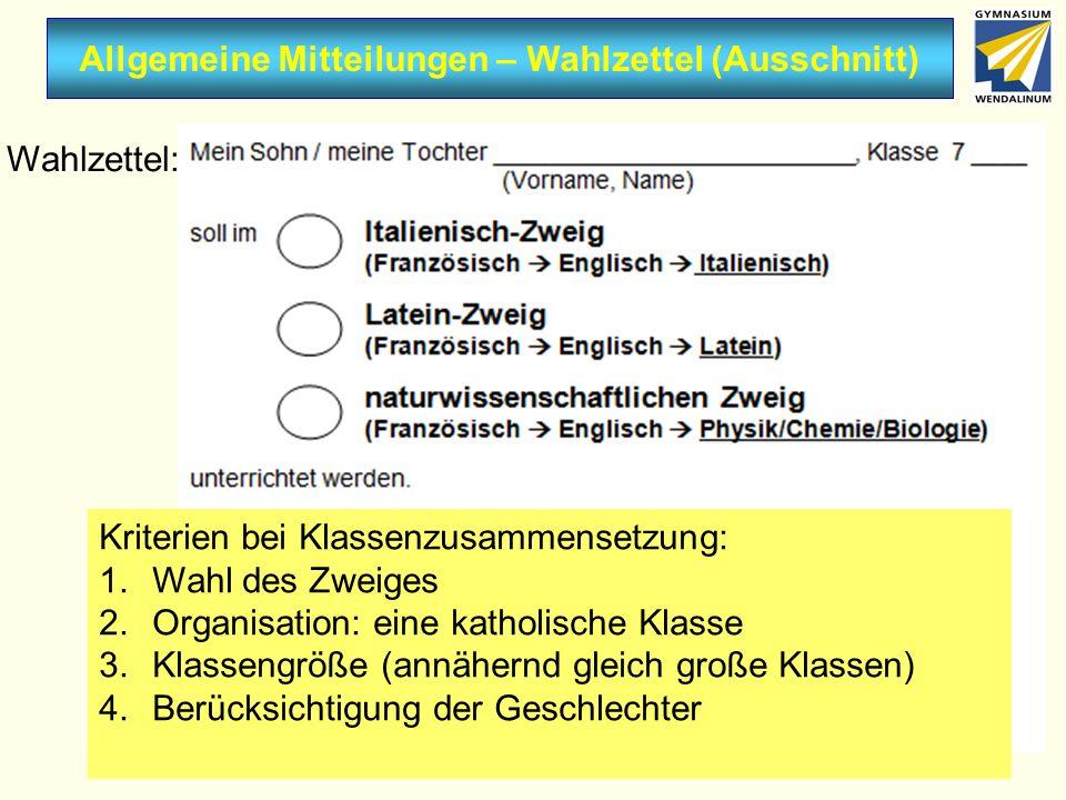 Allgemeine Mitteilungen – Wahlzettel (Ausschnitt) Wahlzettel: Donnerstag, 07.02.2013 Kriterien bei Klassenzusammensetzung: 1.Wahl des Zweiges 2.Organi