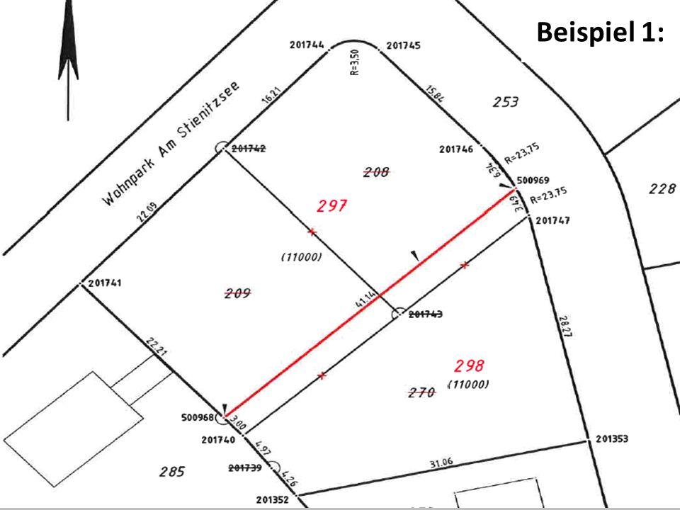 ermessung Brandenburg Sonderung in Sonderung Beispiel 2: In einem Baugebiet werden nach und nach je nach Verkauf Flurstücke gebildet.