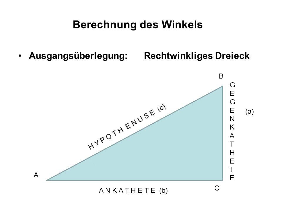 Berechnung des Winkels Ausgangsüberlegung: Rechtwinkliges Dreieck G z e u g m e n W k i a n t k h e e l t e α A N K A T H E T E zum Winkel α sin (α )