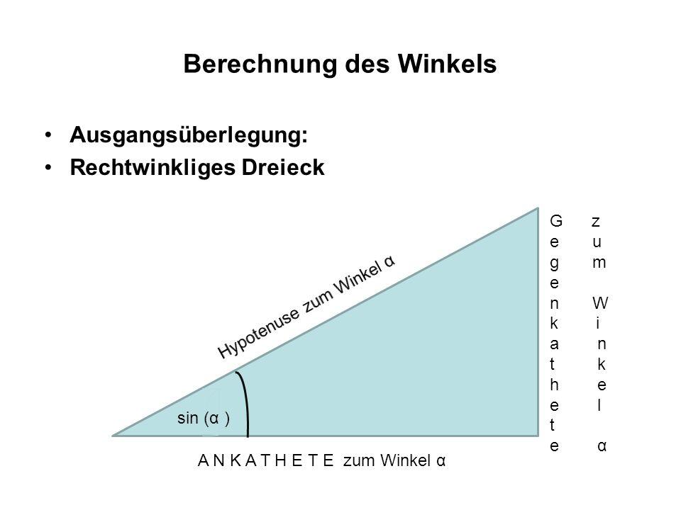 Berechnung des Winkels Ausgangsüberlegung: Das Dreieck an der Solaranlage .