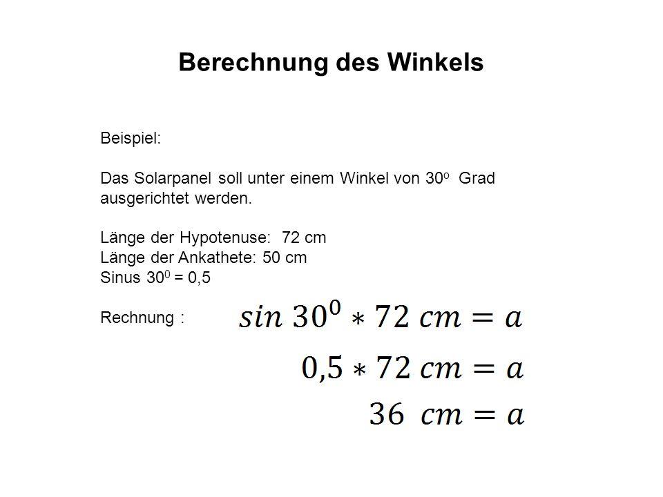 Berechnung des Winkels Die Gegenkathete ist in diesem Falle 36 cm lang.