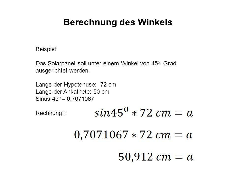 Berechnung des Winkels Die Gegenkathete ist in diesem Falle 50,912 cm lang.