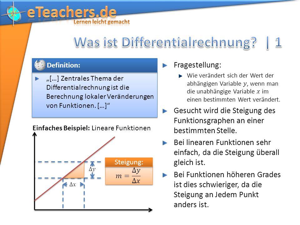 […] Zentrales Thema der Differentialrechnung ist die Berechnung lokaler Veränderungen von Funktionen. […] Definition: Einfaches Beispiel: Lineare Funk